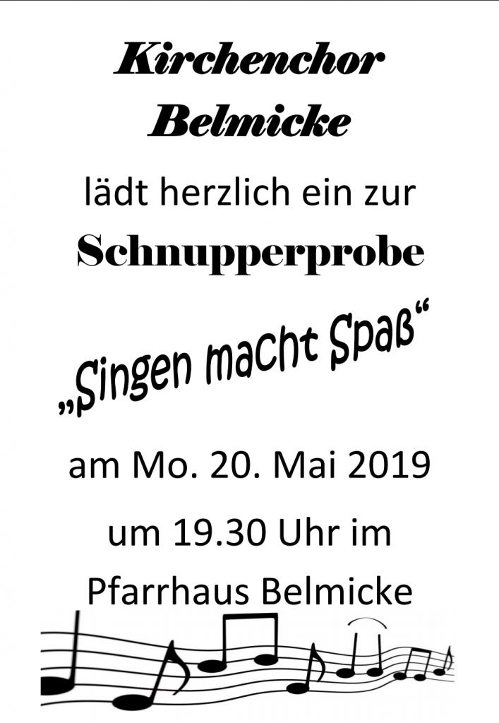 Schnupperprobe des Kirchenchors Belmicke