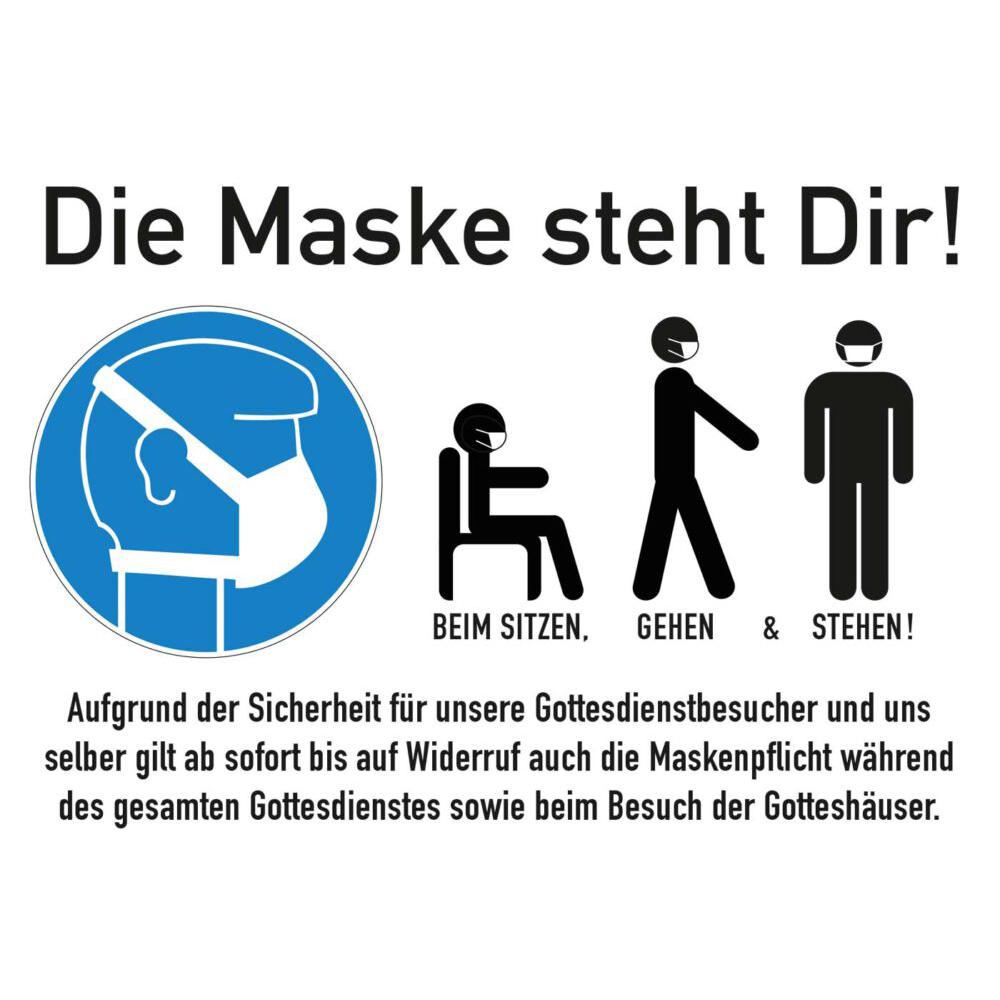 Plakat | Maskenpflicht während des gesamten Gottesdienstes